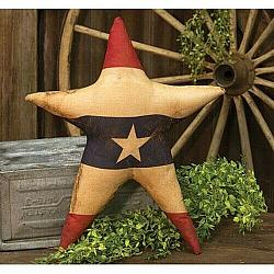 Primitive Country Farmhouse Large Grungy AMERICAN FLAG STAR Shelf Sitter NEW!!